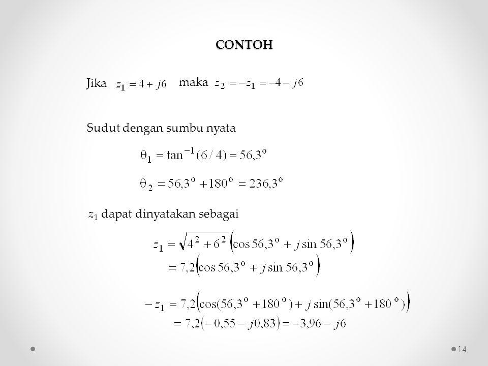 CONTOH Sudut dengan sumbu nyata z 1 dapat dinyatakan sebagai Jika maka 14