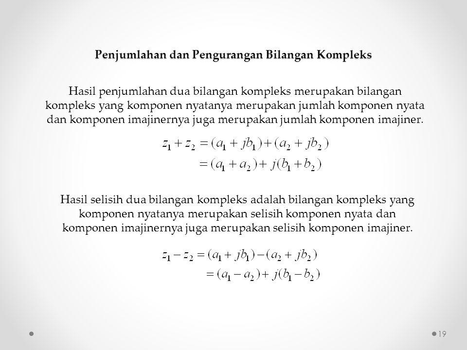 Penjumlahan dan Pengurangan Bilangan Kompleks Hasil penjumlahan dua bilangan kompleks merupakan bilangan kompleks yang komponen nyatanya merupakan jum