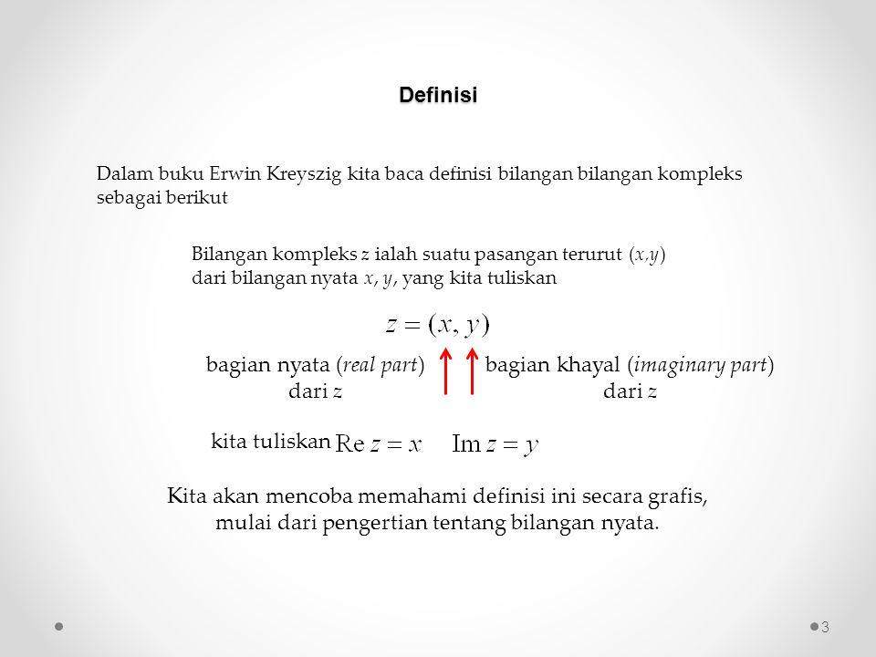 Definisi Dalam buku Erwin Kreyszig kita baca definisi bilangan bilangan kompleks sebagai berikut Bilangan kompleks z ialah suatu pasangan terurut (x,y