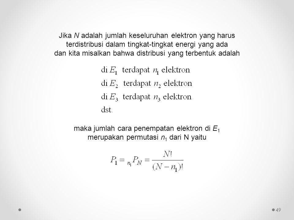 Jika N adalah jumlah keseluruhan elektron yang harus terdistribusi dalam tingkat-tingkat energi yang ada dan kita misalkan bahwa distribusi yang terbe