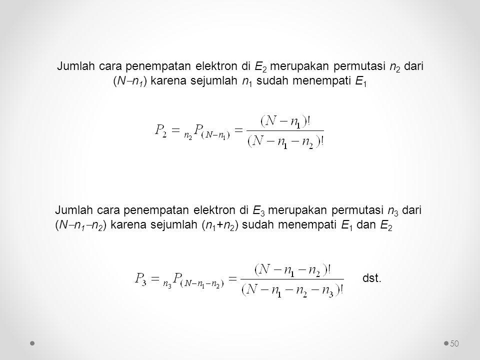 Jumlah cara penempatan elektron di E 2 merupakan permutasi n 2 dari (N  n 1 ) karena sejumlah n 1 sudah menempati E 1 dst. Jumlah cara penempatan ele
