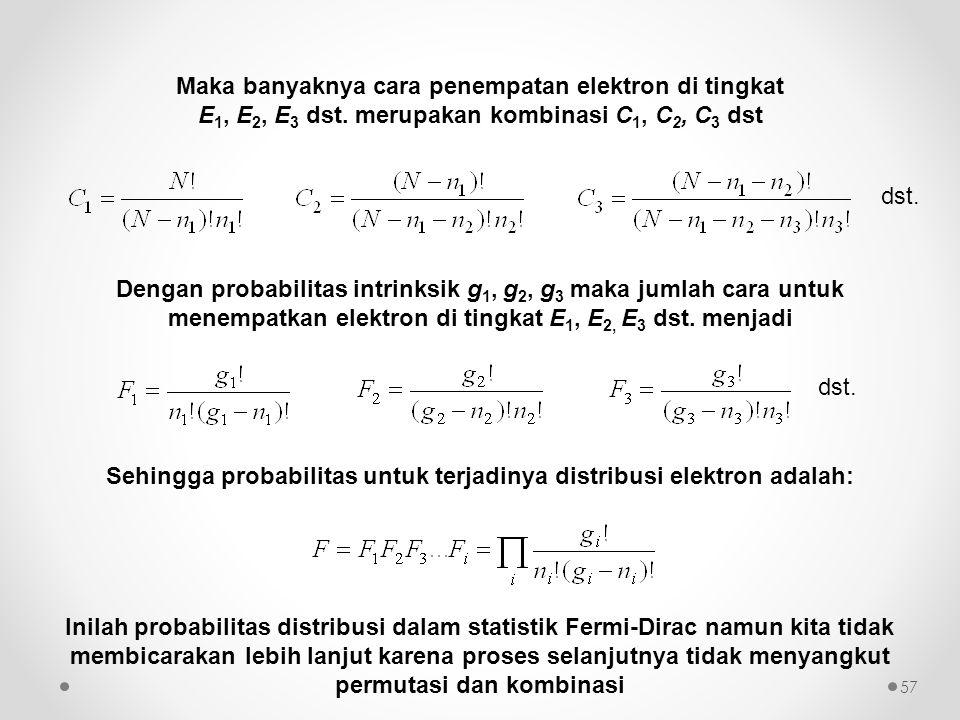 Sehingga probabilitas untuk terjadinya distribusi elektron adalah: Inilah probabilitas distribusi dalam statistik Fermi-Dirac namun kita tidak membica