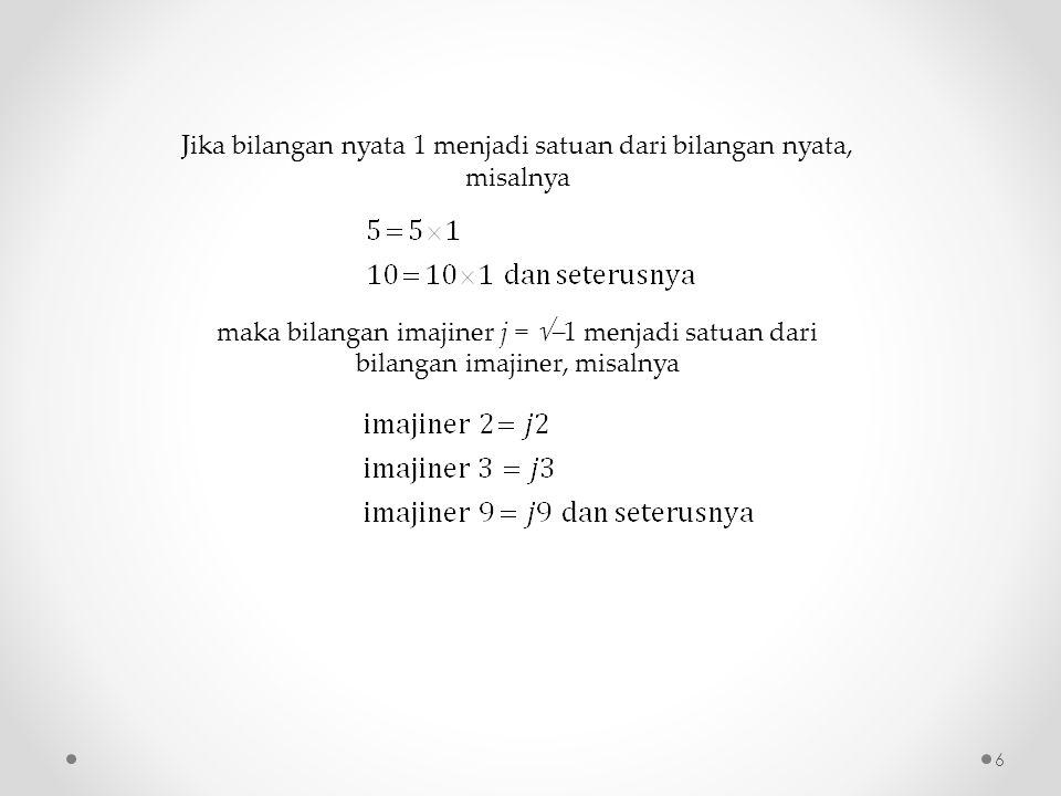6 Jika bilangan nyata 1 menjadi satuan dari bilangan nyata, misalnya maka bilangan imajiner j =  1 menjadi satuan dari bilangan imajiner, misalnya
