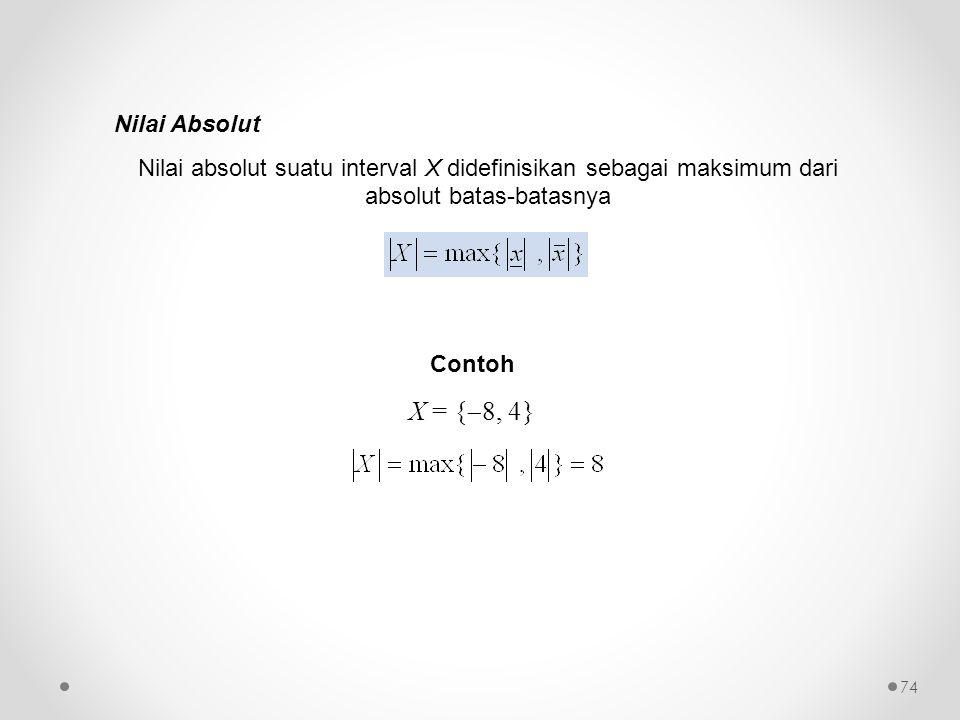 Nilai Absolut Nilai absolut suatu interval X didefinisikan sebagai maksimum dari absolut batas-batasnya Contoh X = {  8, 4} 74