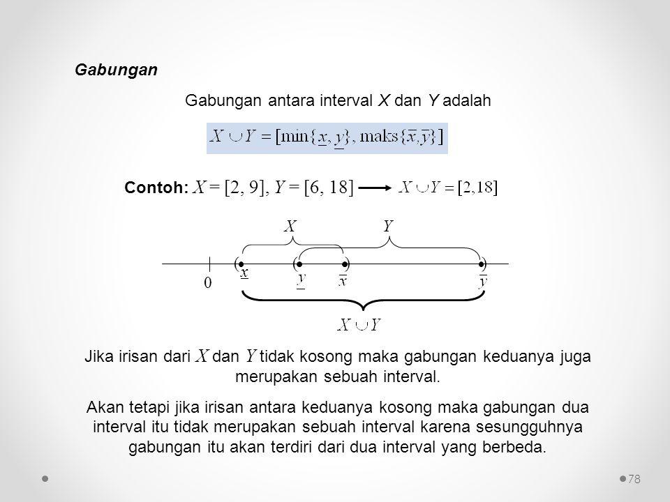 Gabungan Gabungan antara interval X dan Y adalah Contoh: X = [2, 9], Y = [6, 18] 0 ( x ) () XY Jika irisan dari X dan Y tidak kosong maka gabungan ked