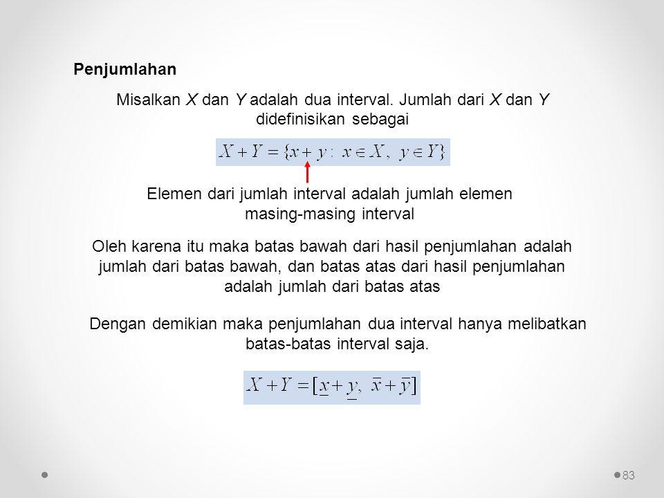 Penjumlahan Misalkan X dan Y adalah dua interval. Jumlah dari X dan Y didefinisikan sebagai Elemen dari jumlah interval adalah jumlah elemen masing-ma