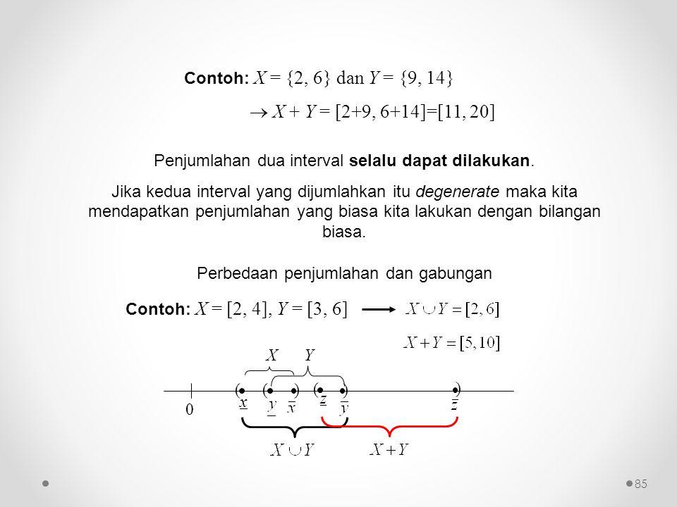 Contoh: X = {2, 6} dan Y = {9, 14}  X + Y = [2+9, 6+14]=[11, 20] Penjumlahan dua interval selalu dapat dilakukan. Jika kedua interval yang dijumlahka