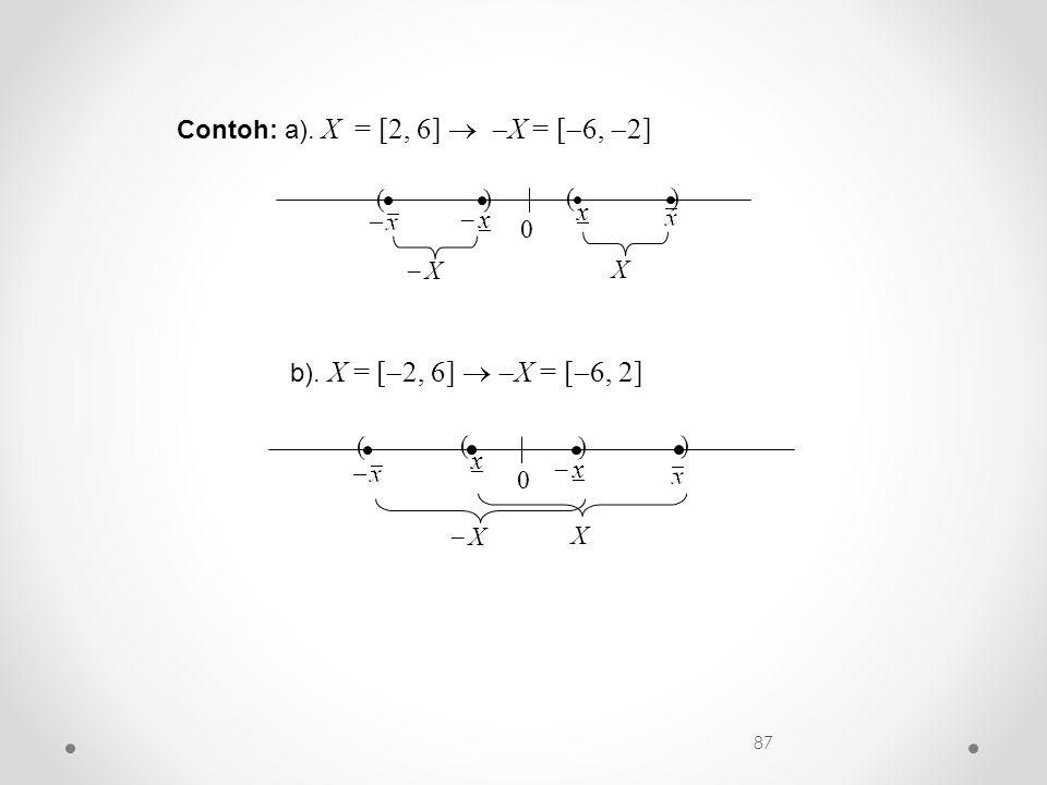 Contoh: a). X = [2, 6]   X = [  6,  2] 0 ( x ) X )  x x (  X b). X = [  2, 6]   X = [  6, 2] 0 ( x ) X )  x x (  X 87