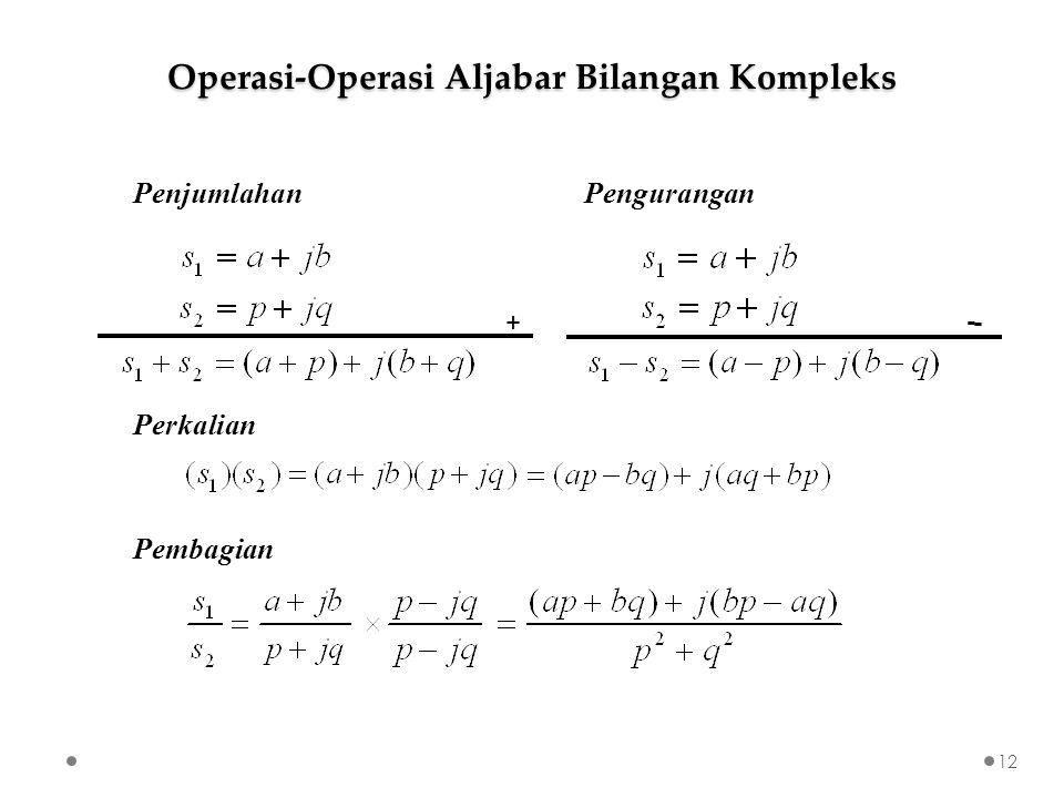 Penjumlahan Perkalian Pembagian + - - Operasi-Operasi Aljabar Bilangan Kompleks Pengurangan 12