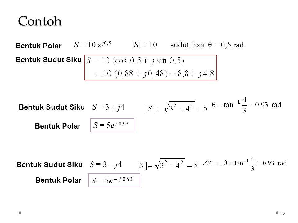  S  = 10sudut fasa: θ = 0,5 radS = 10 e j0,5 Bentuk Polar Bentuk Sudut Siku S = 3 + j4 Bentuk Sudut Siku S = 5e j 0,93 Bentuk Polar S = 3  j4 Bentuk Sudut Siku S = 5e  j 0,93 Bentuk Polar Contoh 15