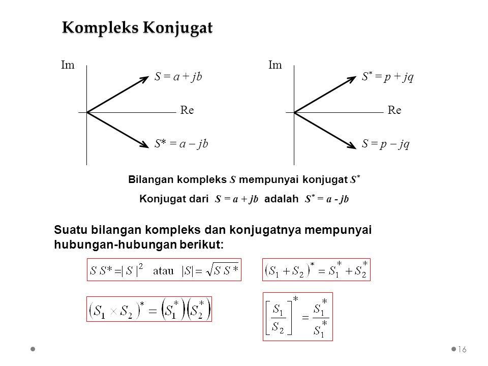 Suatu bilangan kompleks dan konjugatnya mempunyai hubungan-hubungan berikut: S = a + jb S* = a  jb Re Im Re Im Bilangan kompleks S mempunyai konjugat S * Konjugat dari S = a + jb adalah S * = a - jb S * = p + jq S = p  jq Kompleks Konjugat 16
