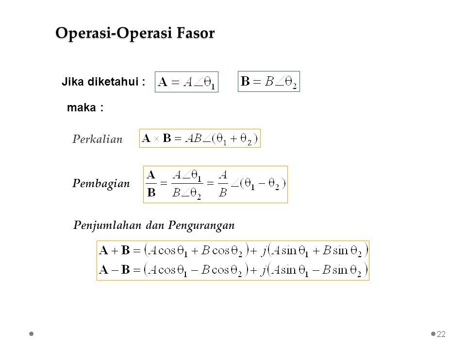 Perkalian Pembagian Penjumlahan dan Pengurangan Jika diketahui : maka : Operasi-Operasi Fasor 22