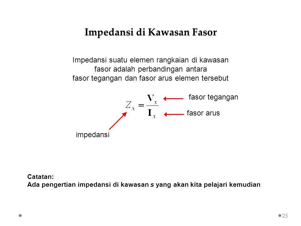 25 Impedansi suatu elemen rangkaian di kawasan fasor adalah perbandingan antara fasor tegangan dan fasor arus elemen tersebut Impedansi di Kawasan Fasor impedansi fasor tegangan fasor arus Catatan: Ada pengertian impedansi di kawasan s yang akan kita pelajari kemudian