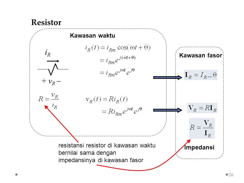 + v R  iRiR Kawasan fasor Kawasan waktu Impedansi resistansi resistor di kawasan waktu bernilai sama dengan impedansinya di kawasan fasor Resistor 26