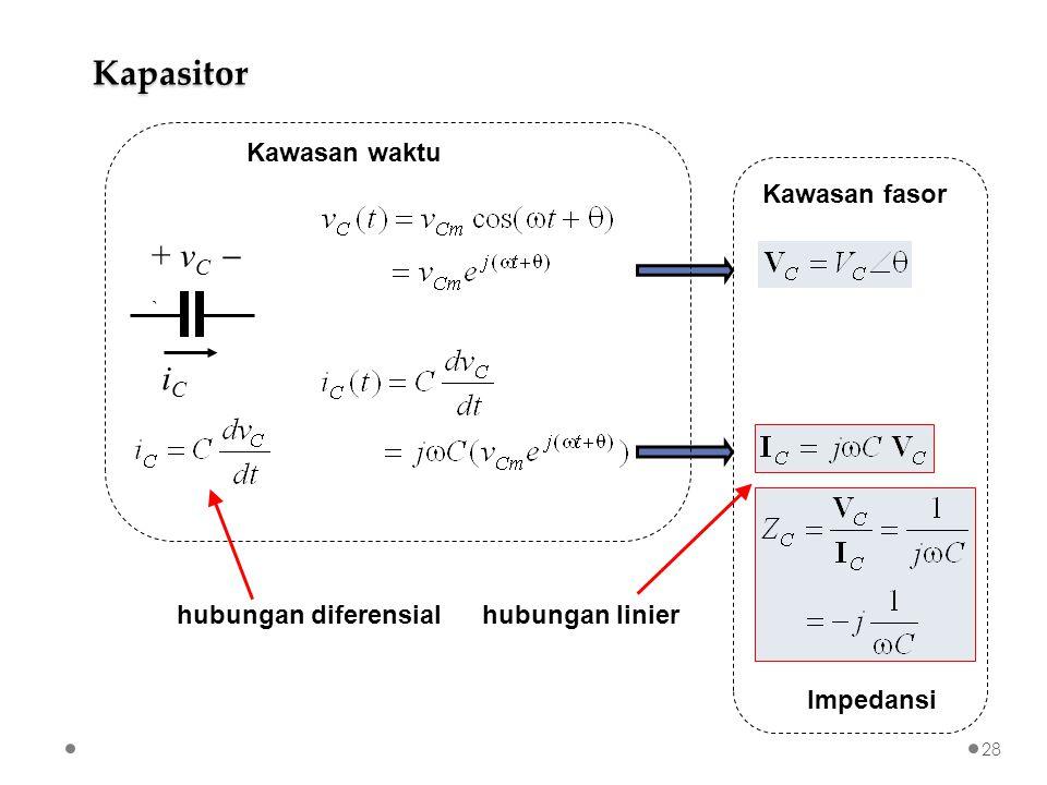 iCiC + v C  ` Kawasan fasor Impedansi Kapasitor Kawasan waktu hubungan diferensialhubungan linier 28