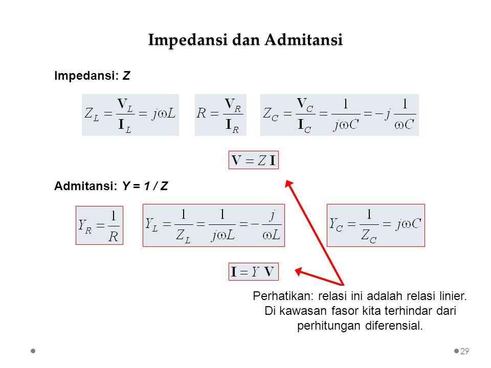Impedansi dan Admitansi Impedansi: Z Admitansi: Y = 1 / Z Perhatikan: relasi ini adalah relasi linier.