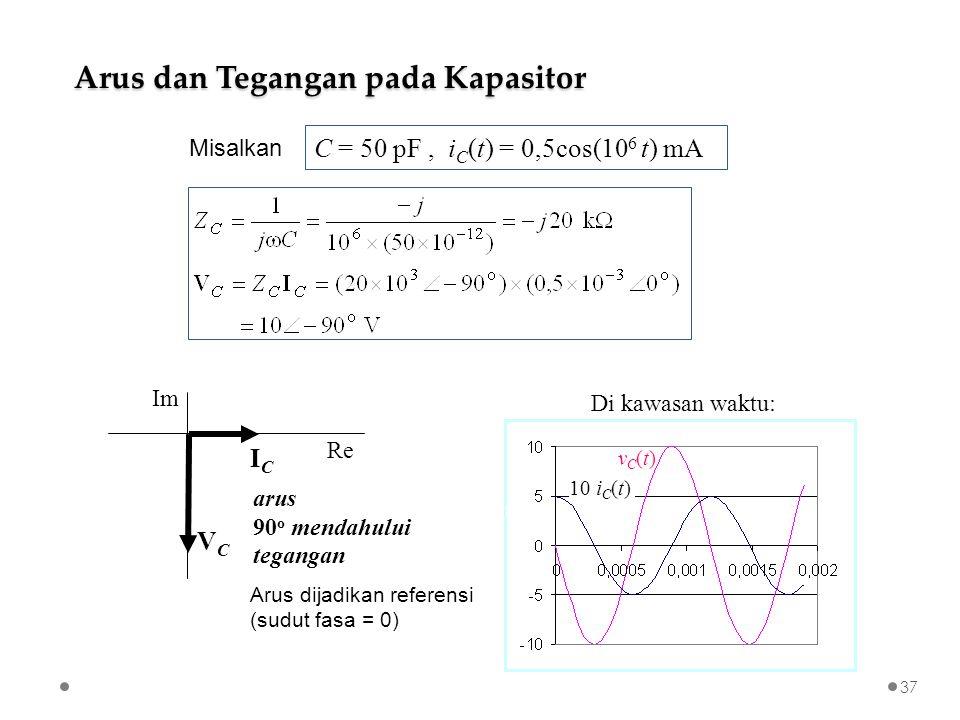 C = 50 pF, i C (t) = 0,5cos(10 6 t) mA Arus dan Tegangan pada Kapasitor ICIC VCVC Re Im arus 90 o mendahului tegangan Arus dijadikan referensi (sudut fasa = 0) detik Di kawasan waktu: 10 i C (t) VmAVmA vC(t)vC(t) Misalkan 37
