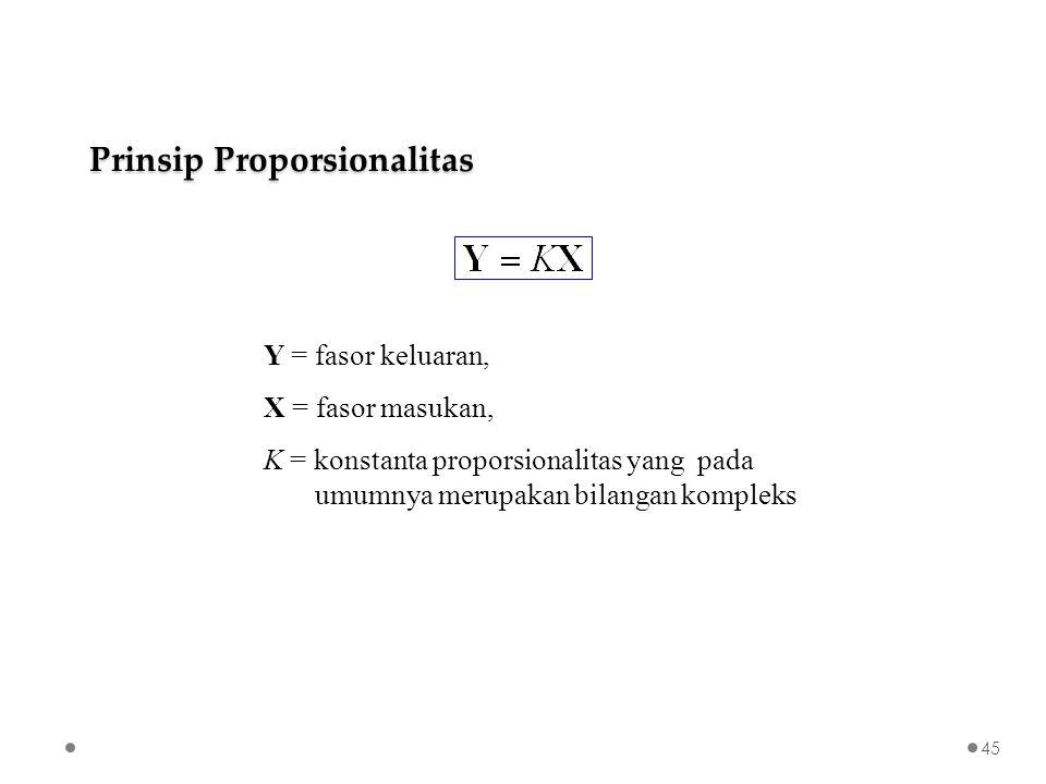 Prinsip Proporsionalitas Y = fasor keluaran, X = fasor masukan, K = konstanta proporsionalitas yang pada umumnya merupakan bilangan kompleks 45
