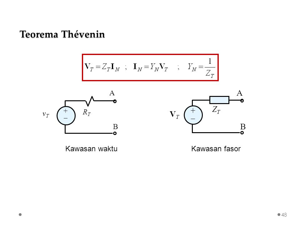 RTRT A B vTvT ++ VTVT ZTZT A B ++ Kawasan waktuKawasan fasor Teorema Thévenin 48