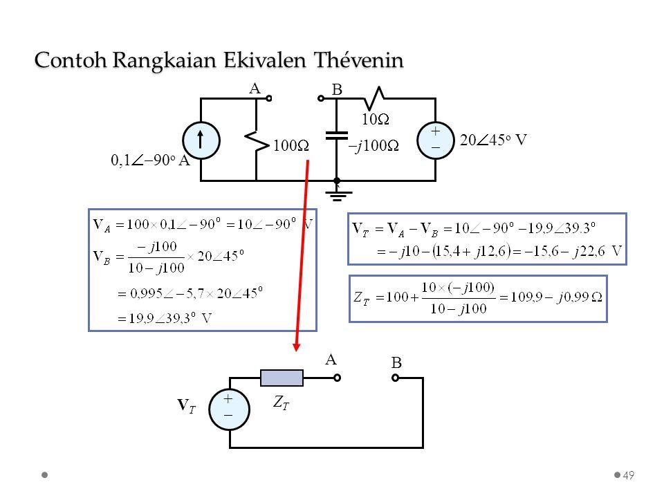 ++  j100  10  100  0,1  90 o A 20  45 o V ` A B ++ VTVT ZTZT A B Contoh Rangkaian Ekivalen Thévenin 49