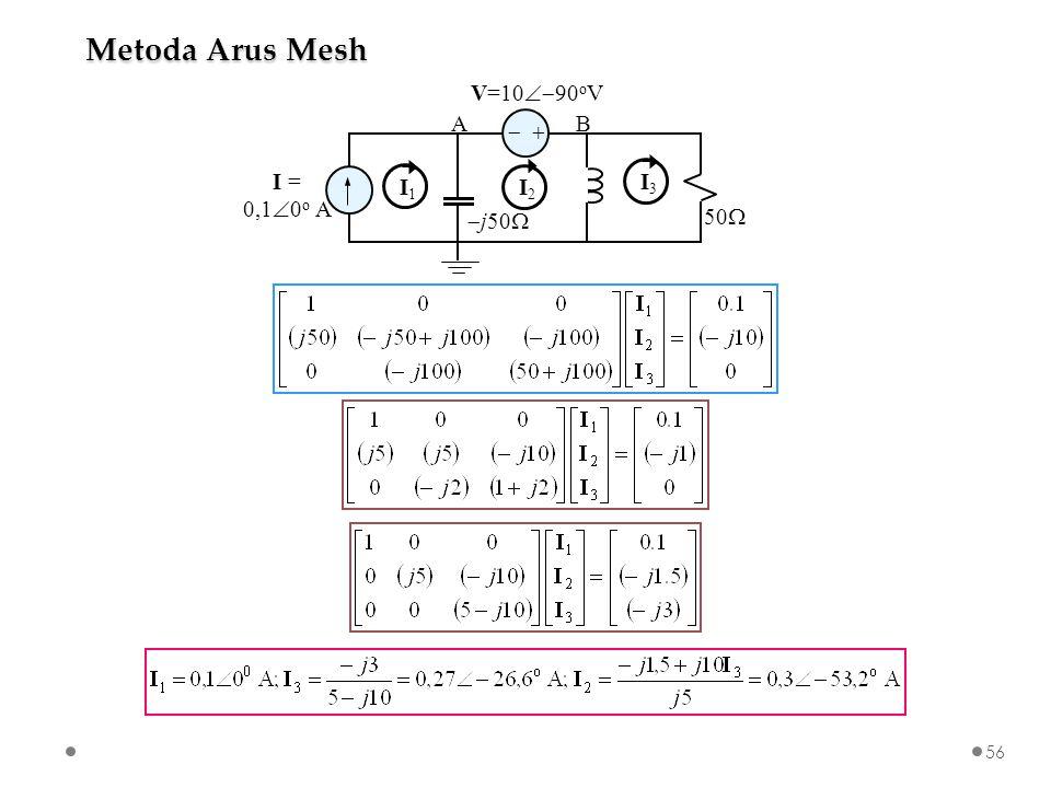   I = 0,1  0 o A V=10  90 o V  j50  50  AB I1I1 I2I2 I3I3 Metoda Arus Mesh 56