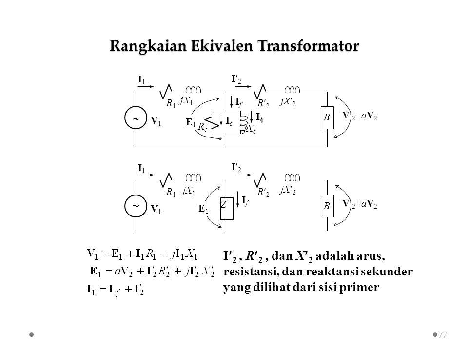 Z R2R2  IfIf B jX 2 R1R1 jX 1 I1I1 I2I2 V1V1 E1E1 V2=aV2V2=aV2 I 2, R 2, dan X 2 adalah arus, resistansi, dan reaktansi sekunder yang dilihat dari sisi primer R2R2  IfIf B jX 2 R1R1 jX 1 I1I1 I2I2 V1V1 E1E1 V2=aV2V2=aV2 jX c RcRc IcIc II Rangkaian Ekivalen Transformator 77