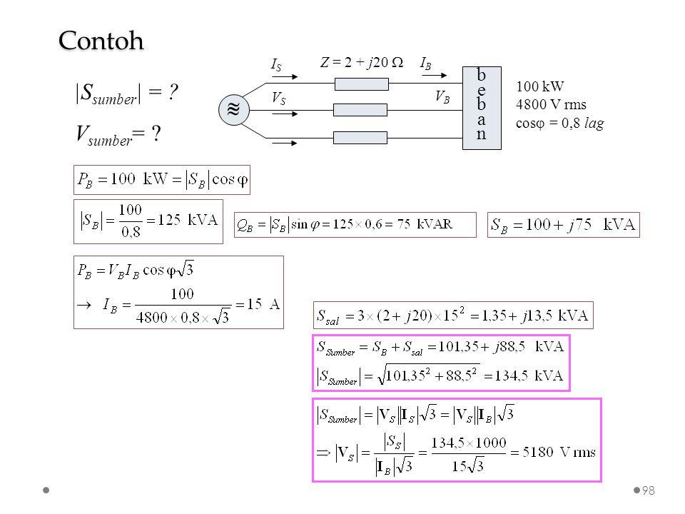 bebanbeban VSVS VBVB Z = 2 + j20    ISIS IBIB 100 kW 4800 V rms cos  = 0,8 lag  S sumber   = .