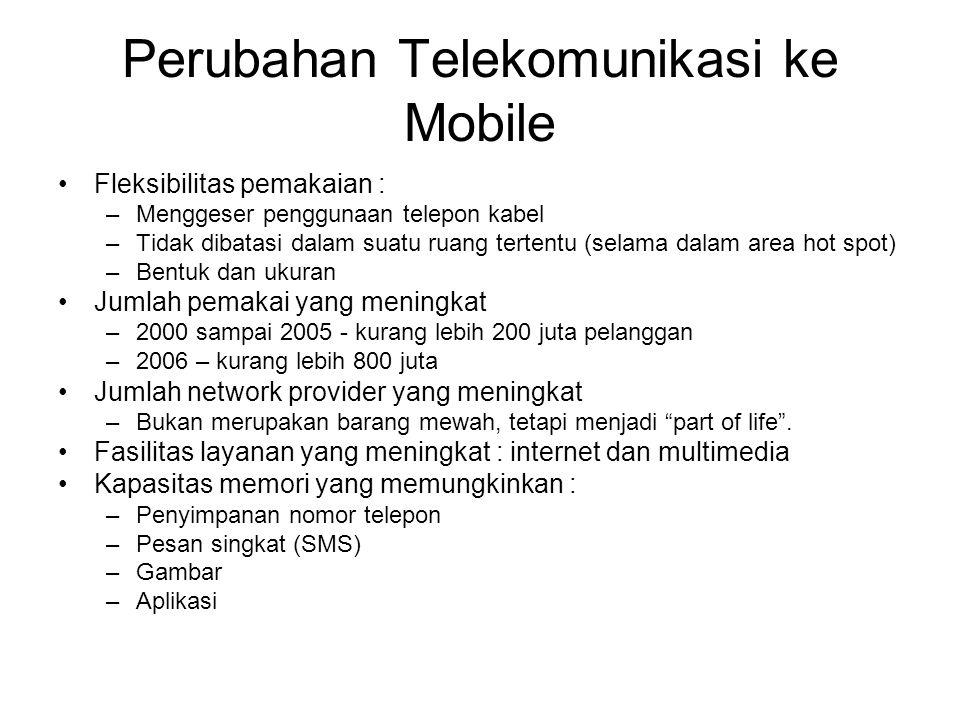 Perubahan Telekomunikasi ke Mobile Fleksibilitas pemakaian : –Menggeser penggunaan telepon kabel –Tidak dibatasi dalam suatu ruang tertentu (selama da