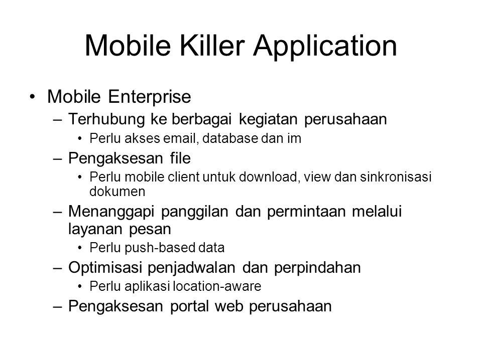 Mobile Killer Application Mobile Enterprise –Terhubung ke berbagai kegiatan perusahaan Perlu akses email, database dan im –Pengaksesan file Perlu mobi