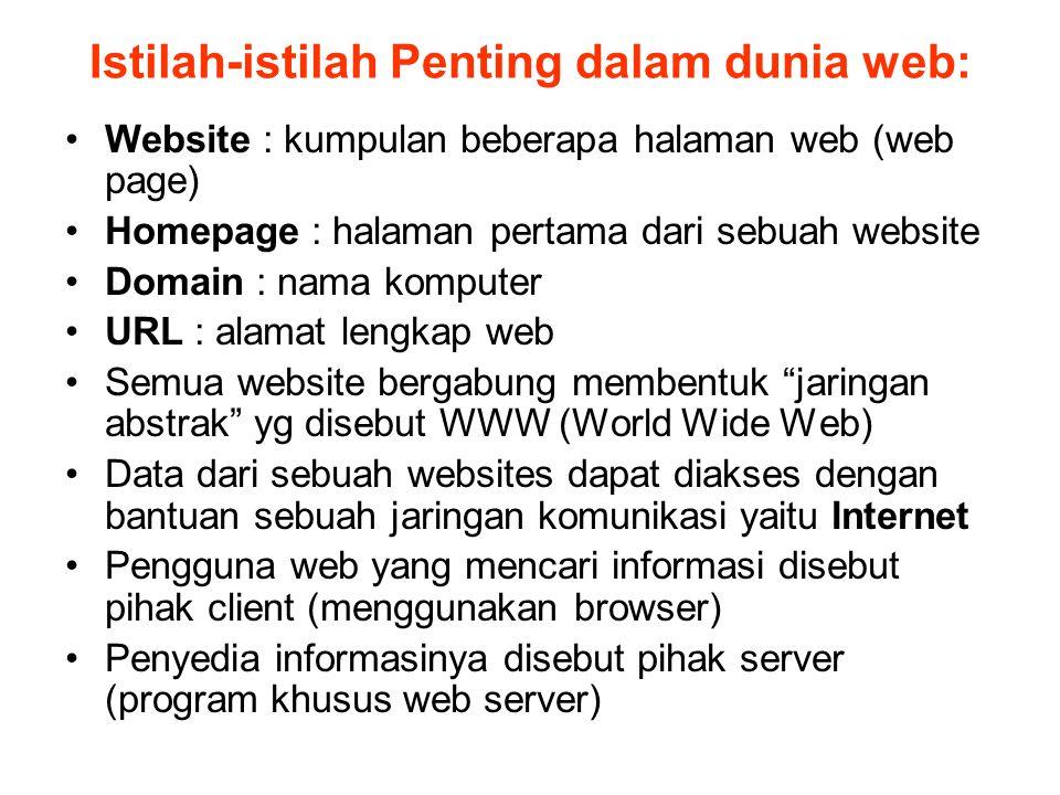 Istilah-istilah Penting dalam dunia web: Website : kumpulan beberapa halaman web (web page) Homepage : halaman pertama dari sebuah website Domain : na