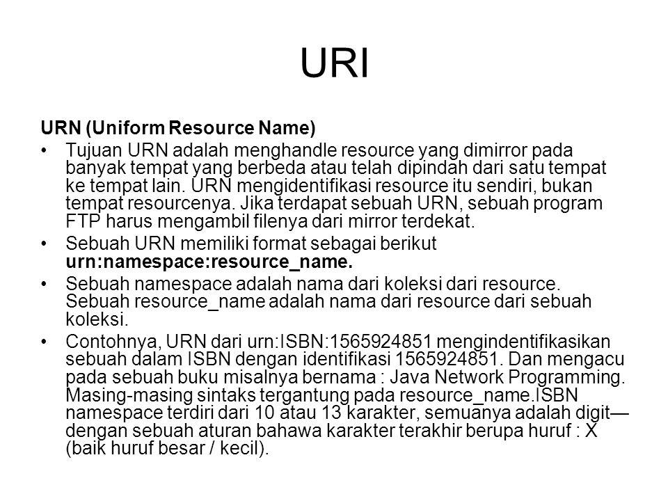URI URN (Uniform Resource Name) Tujuan URN adalah menghandle resource yang dimirror pada banyak tempat yang berbeda atau telah dipindah dari satu temp