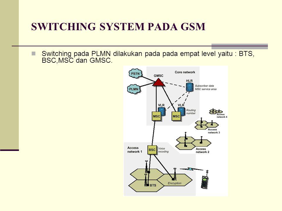 SWITCHING SYSTEM PADA GSM Switching pada PLMN dilakukan pada pada empat level yaitu : BTS, BSC,MSC dan GMSC.