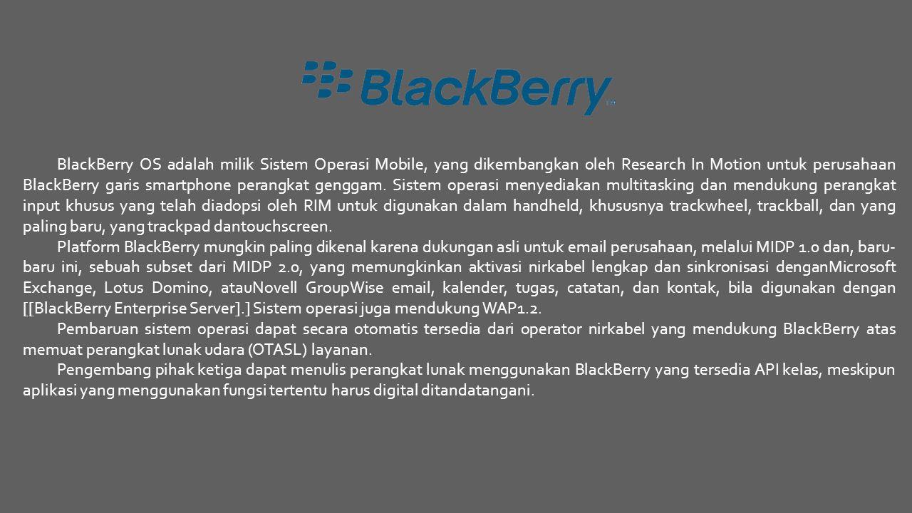 BlackBerry OS adalah milik Sistem Operasi Mobile, yang dikembangkan oleh Research In Motion untuk perusahaan BlackBerry garis smartphone perangkat gen