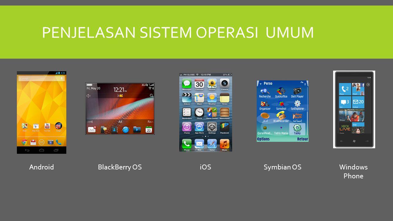 PENJELASAN SISTEM OPERASI UMUM AndroidBlackBerry OSiOSSymbian OSWindows Phone