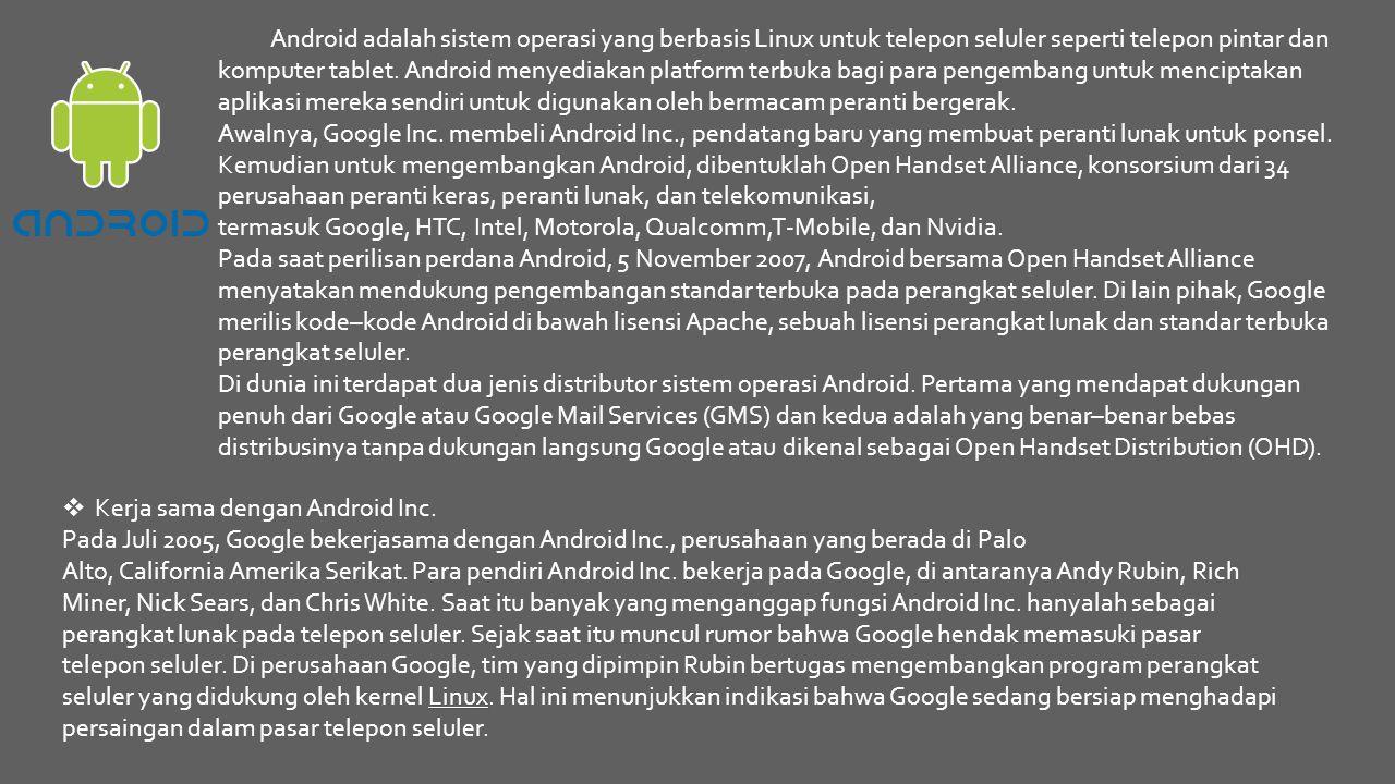 Android adalah sistem operasi yang berbasis Linux untuk telepon seluler seperti telepon pintar dan komputer tablet. Android menyediakan platform terbu