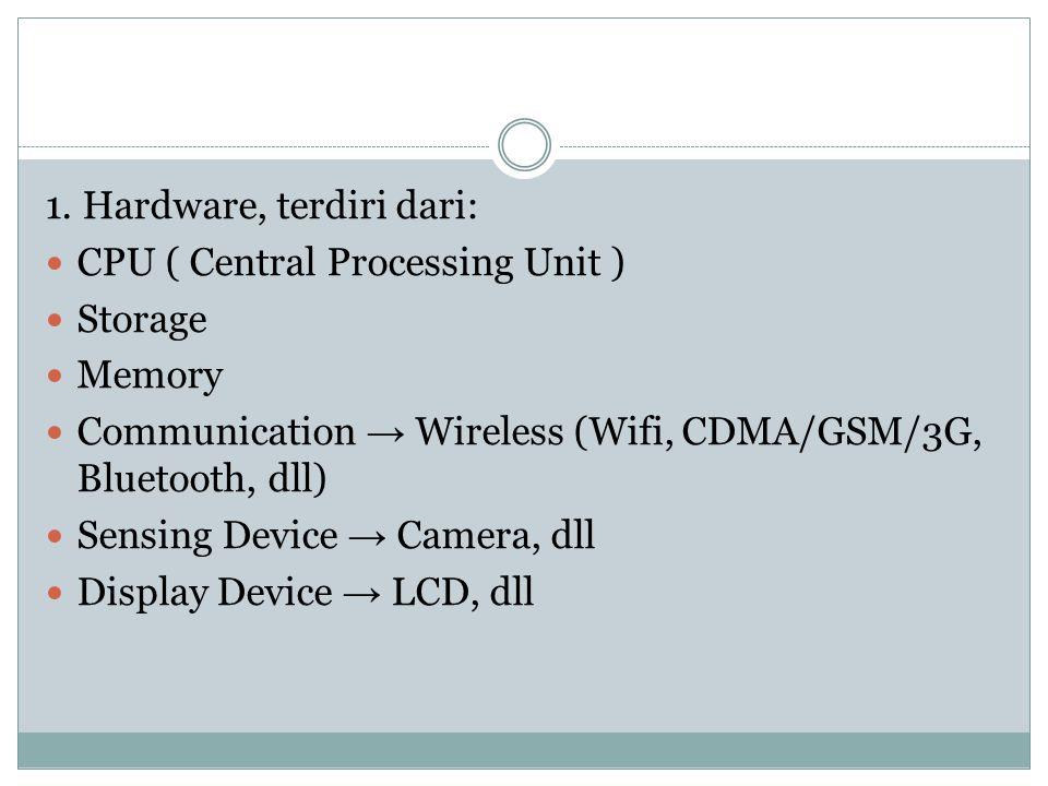 1. Hardware, terdiri dari: CPU ( Central Processing Unit ) Storage Memory Communication → Wireless (Wifi, CDMA/GSM/3G, Bluetooth, dll) Sensing Device