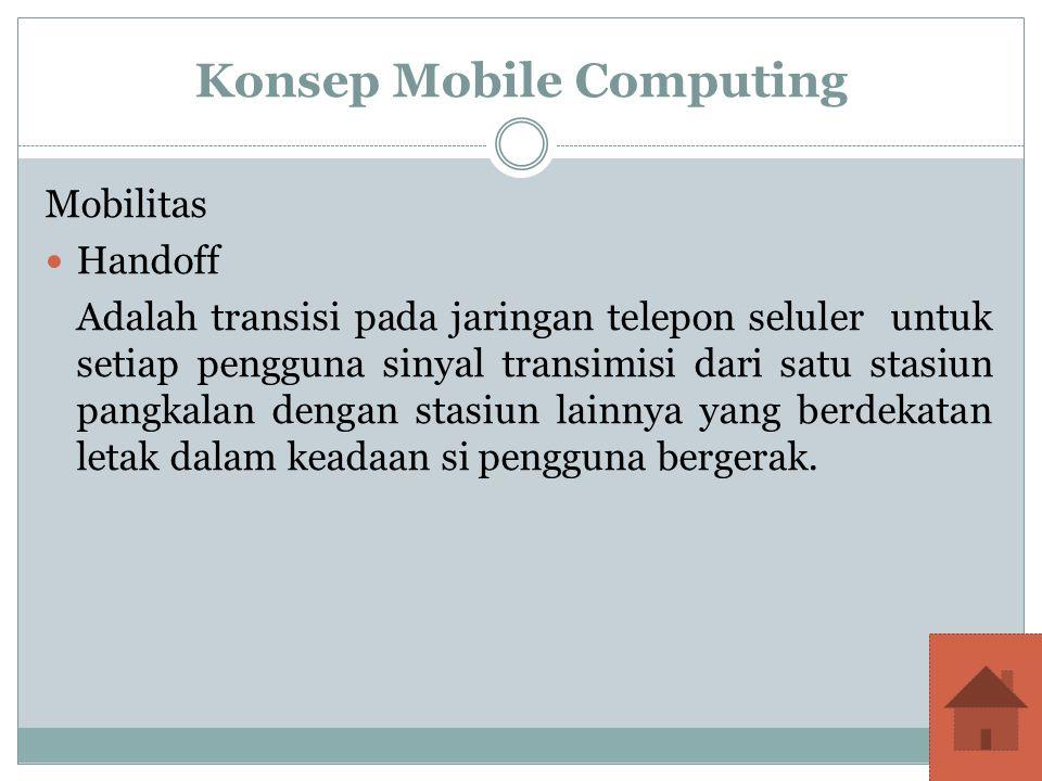 Konsep Mobile Computing Mobilitas Handoff Adalah transisi pada jaringan telepon seluler untuk setiap pengguna sinyal transimisi dari satu stasiun pang