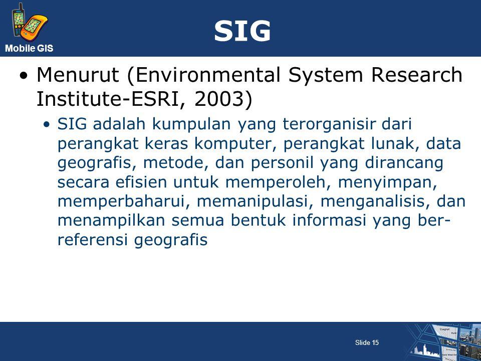 Mobile GIS SIG Menurut (Environmental System Research Institute-ESRI, 2003) SIG adalah kumpulan yang terorganisir dari perangkat keras komputer, peran