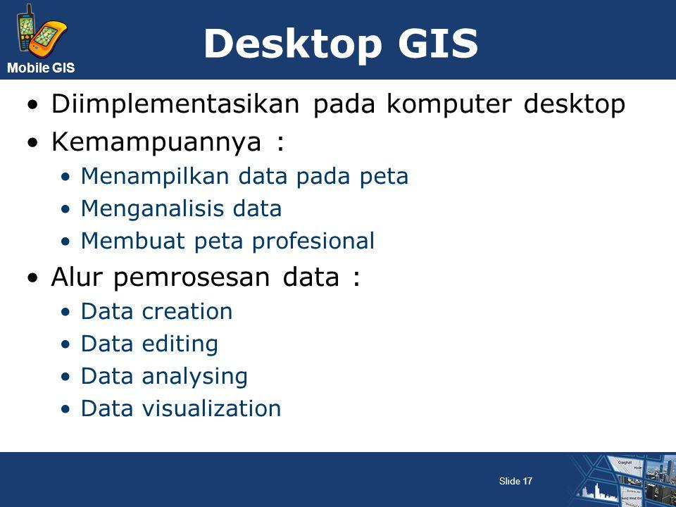 Mobile GIS Desktop GIS Diimplementasikan pada komputer desktop Kemampuannya : Menampilkan data pada peta Menganalisis data Membuat peta profesional Al