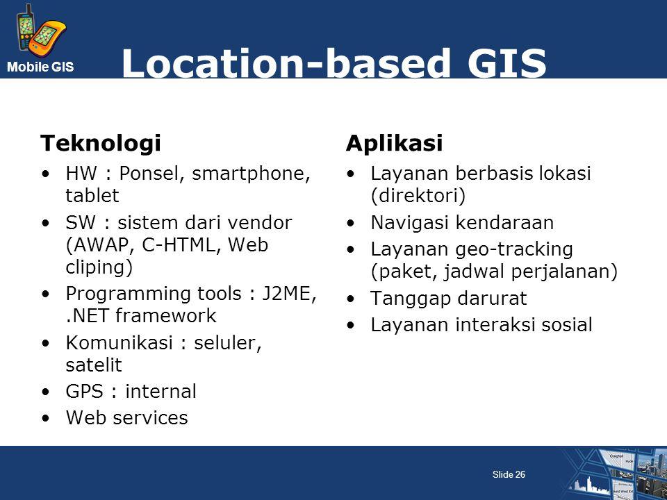 Mobile GIS Location-based GIS Teknologi HW : Ponsel, smartphone, tablet SW : sistem dari vendor (AWAP, C-HTML, Web cliping) Programming tools : J2ME,.