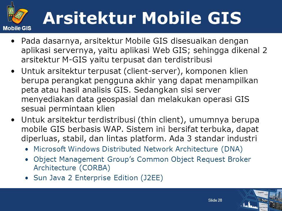 Mobile GIS Arsitektur Mobile GIS Pada dasarnya, arsitektur Mobile GIS disesuaikan dengan aplikasi servernya, yaitu aplikasi Web GIS; sehingga dikenal