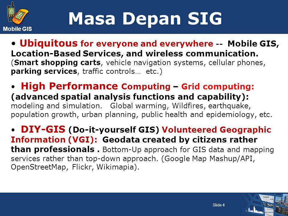 Mobile GIS Teknologi Mobile GIS Mobilitas masyarakat meningkat, maka kebutuhan komunikasi dan informasi tidak lagi tergantung pada tempat dan waktu (ubiquitous) Penggunaan data geospasial tidak hanya pada platform desktop dan web; tapi juga pada mobile devices Muncul teknologi Wireless GIS atau lebih populer disebut Mobile GIS Slide 5
