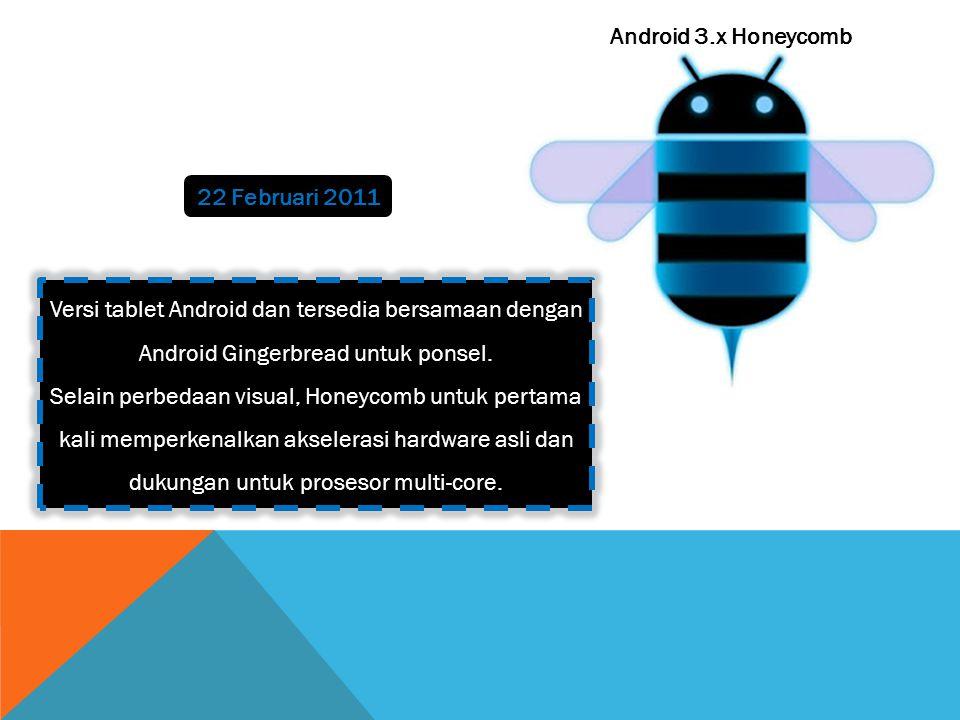Android 3.x Honeycomb 22 Februari 2011 Versi tablet Android dan tersedia bersamaan dengan Android Gingerbread untuk ponsel.