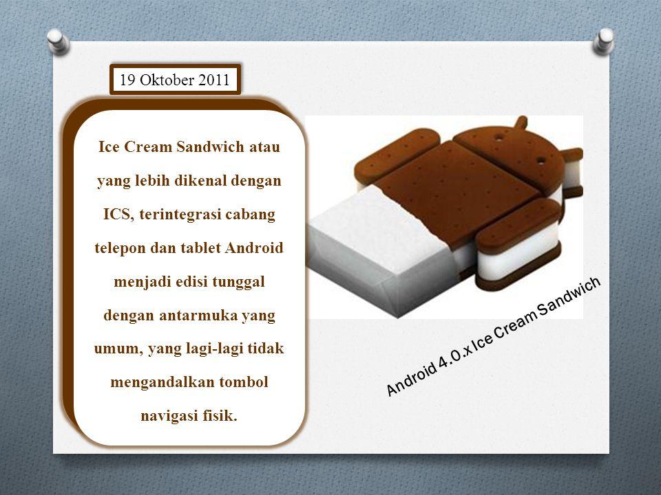 Android 4.0.x Ice Cream Sandwich 19 Oktober 2011 Ice Cream Sandwich atau yang lebih dikenal dengan ICS, terintegrasi cabang telepon dan tablet Android menjadi edisi tunggal dengan antarmuka yang umum, yang lagi-lagi tidak mengandalkan tombol navigasi fisik.
