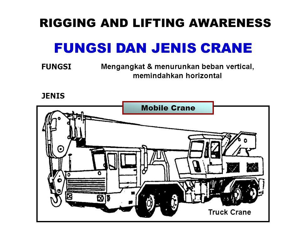RIGGING AND LIFTING AWARENESS FUNGSI DAN JENIS CRANE FUNGSI Mengangkat & menurunkan beban vertical, memindahkan horizontal JENIS Truck Crane Mobile Crane