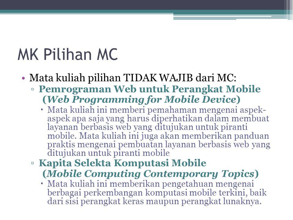 MK Pilihan MC Mata kuliah pilihan TIDAK WAJIB dari MC: ▫Pemrograman Web untuk Perangkat Mobile (Web Programming for Mobile Device)  Mata kuliah ini memberi pemahaman mengenai aspek- aspek apa saja yang harus diperhatikan dalam membuat layanan berbasis web yang ditujukan untuk piranti mobile.