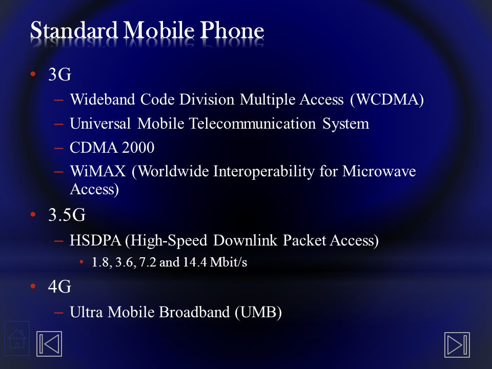 3G – Wideband Code Division Multiple Access (WCDMA) – Universal Mobile Telecommunication System – CDMA 2000 – WiMAX (Worldwide Interoperability for Mi