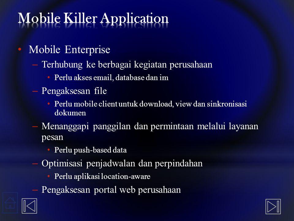 Mobile Enterprise – Terhubung ke berbagai kegiatan perusahaan Perlu akses email, database dan im – Pengaksesan file Perlu mobile client untuk download