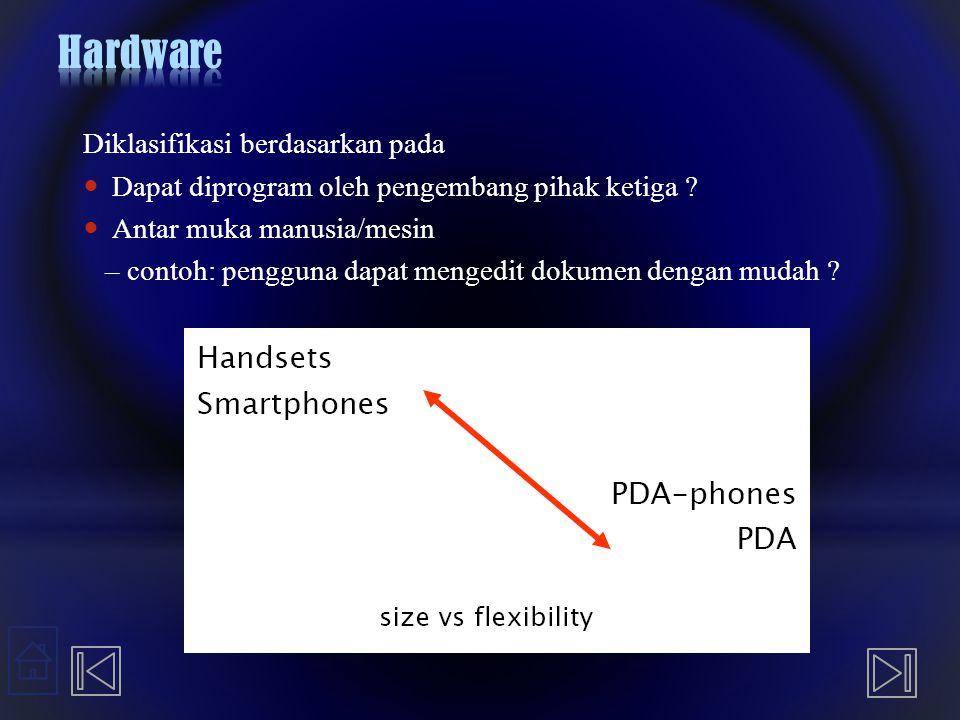 Diklasifikasi berdasarkan pada Dapat diprogram oleh pengembang pihak ketiga ? Antar muka manusia/mesin – contoh: pengguna dapat mengedit dokumen denga