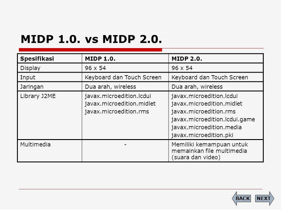 MIDP 1.0. vs MIDP 2.0. SpesifikasiMIDP 1.0.MIDP 2.0. Display96 x 54 InputKeyboard dan Touch Screen JaringanDua arah, wireless Library J2MEjavax.microe